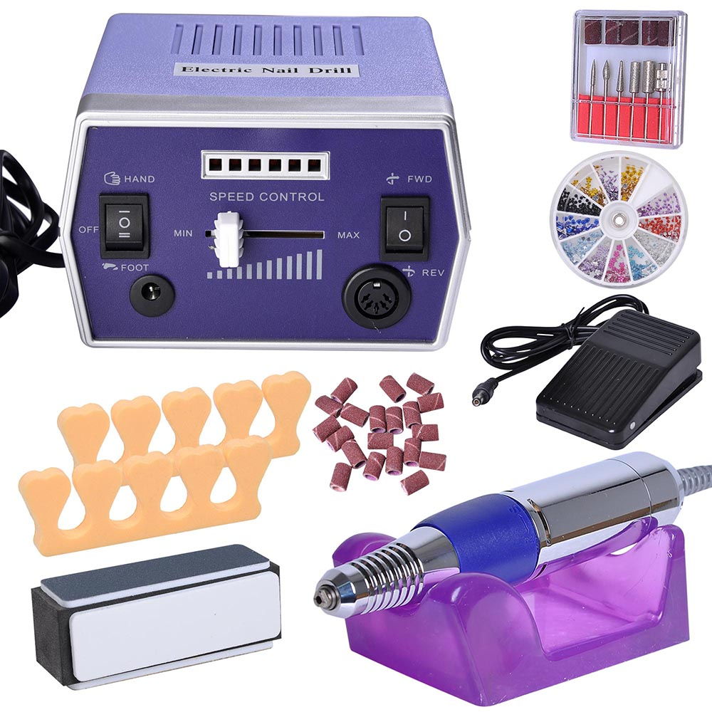 Pro Electric Nail File Drill Adjustable Manicure Tool Pedicure Machine Set Kit