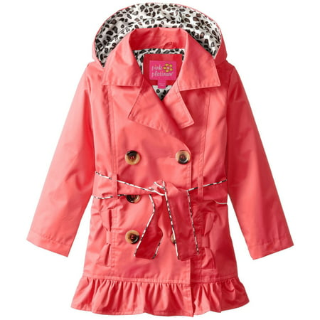 Pink Platinum Toddler Girls Double Breasted Leopard Lined Twill Trench Rain Jacket - Girls Leopard Coat