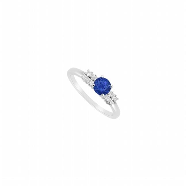 Fine Jewelry Vault UBJS3120AW14DS-101RS7 Sapphire & Diamond Engagement Ring 14K White Gold, 0.75 CT - Size 7