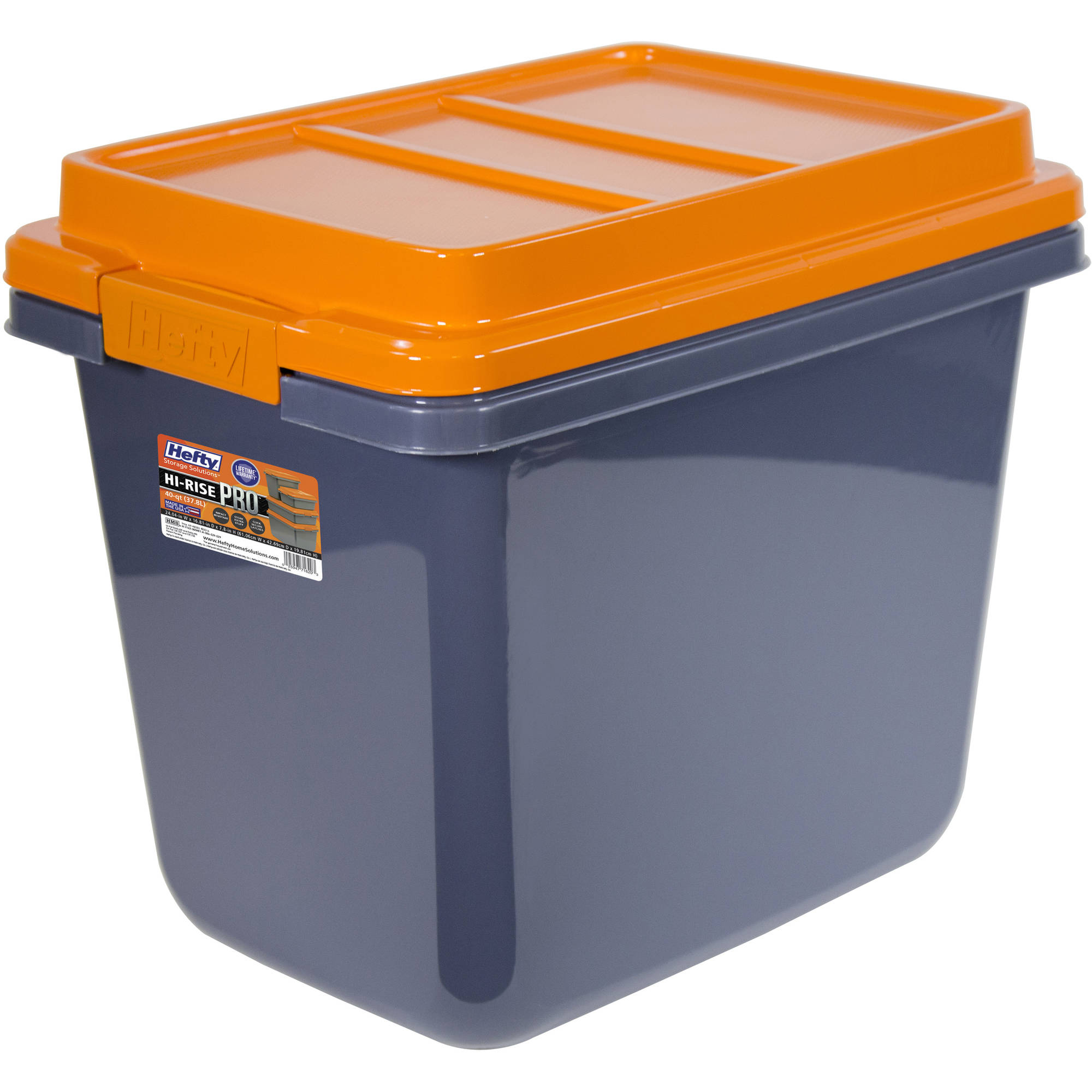 Hefty HI-RISE Heavy Duty Storage Bins, 32 Qt. Latch Storage Box, Orange/Gray