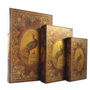 jeco inc storage wood 3 piece decorative box set - Decorative Boxes