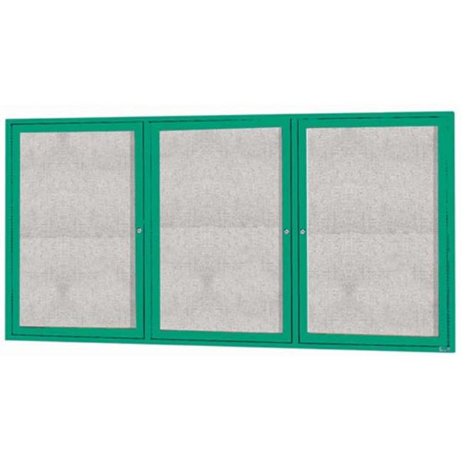 Aarco Products ODCC3672-3RG 3-Door Outdoor Enclosed Bulletin Board - Green