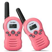 Caroger Walkie Talkies Two Way Radios 22 Channel 3000M (MAX 5000M open field) UHF Outdoor Long Range Handheld Talkies Talky for NERF Kids Adults 2Packs Pink