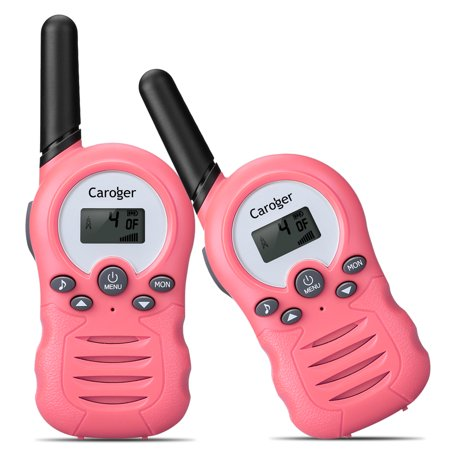 Caroger Walkie Talkies for Kids Two-Way Radios 22 Channels FRS/GMRS 462/467MHZ Portable Handheld Mini Kids Walkie Talkies Long Range 3.3 Miles Carry Charger (Light Pink, 2