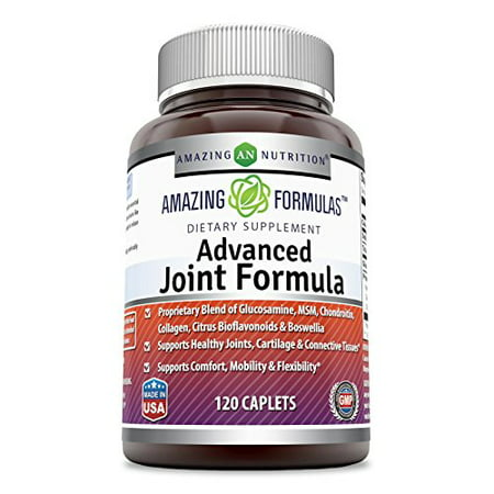 Amazing Formulas Advanced Joint Formula 120 Caplets - Proprietary Blend of Glucosamine, MSM, Chondroitin, Collagen, Citrus Bioflavonoids & Boswellia