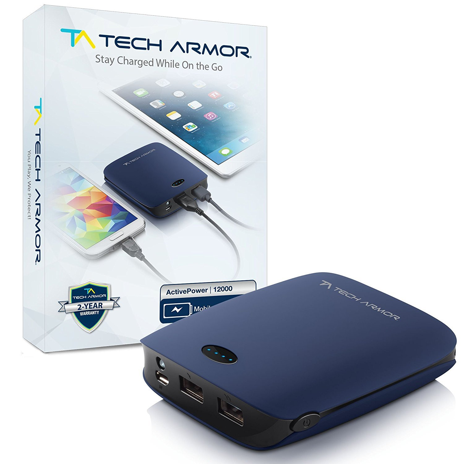 Tech Armor 12000mAh ActivePower PowerBank by External Battery Portable Dual USB Charger Power Bank - Fast Charging, High Capacity, Ultra Compact