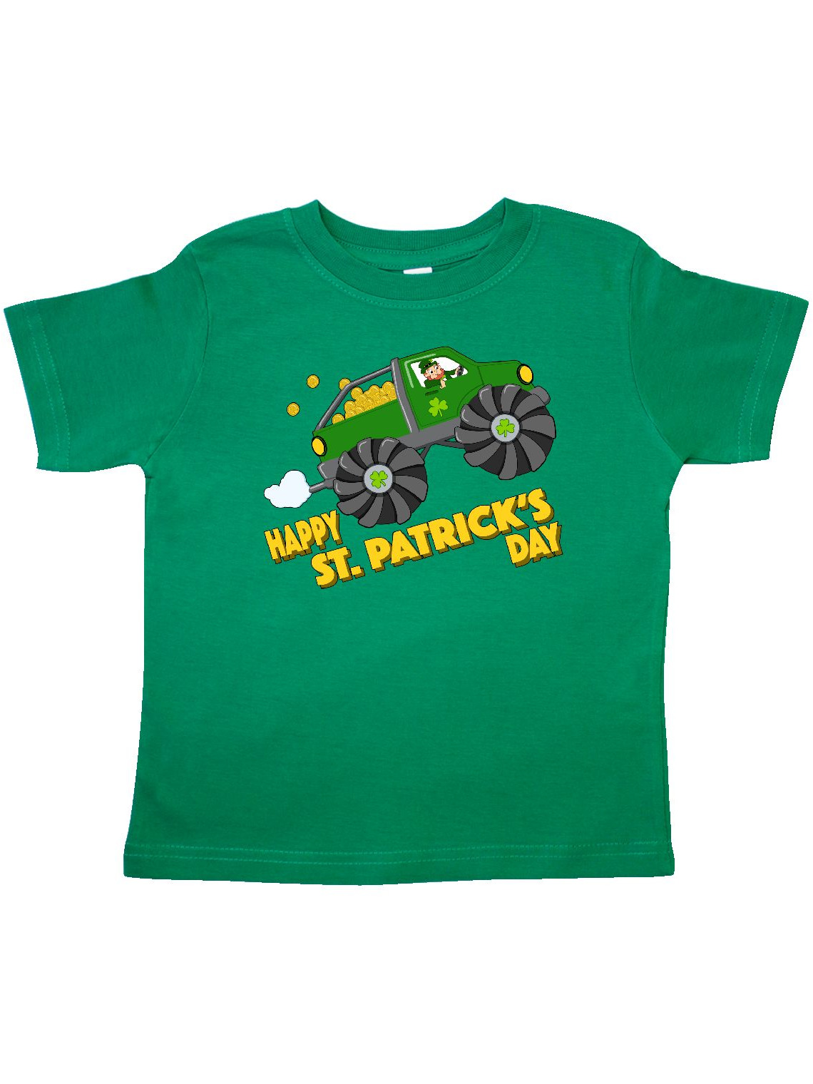 Happy St. Patrick's Day monster truck with leprechaun Toddler T-Shirt