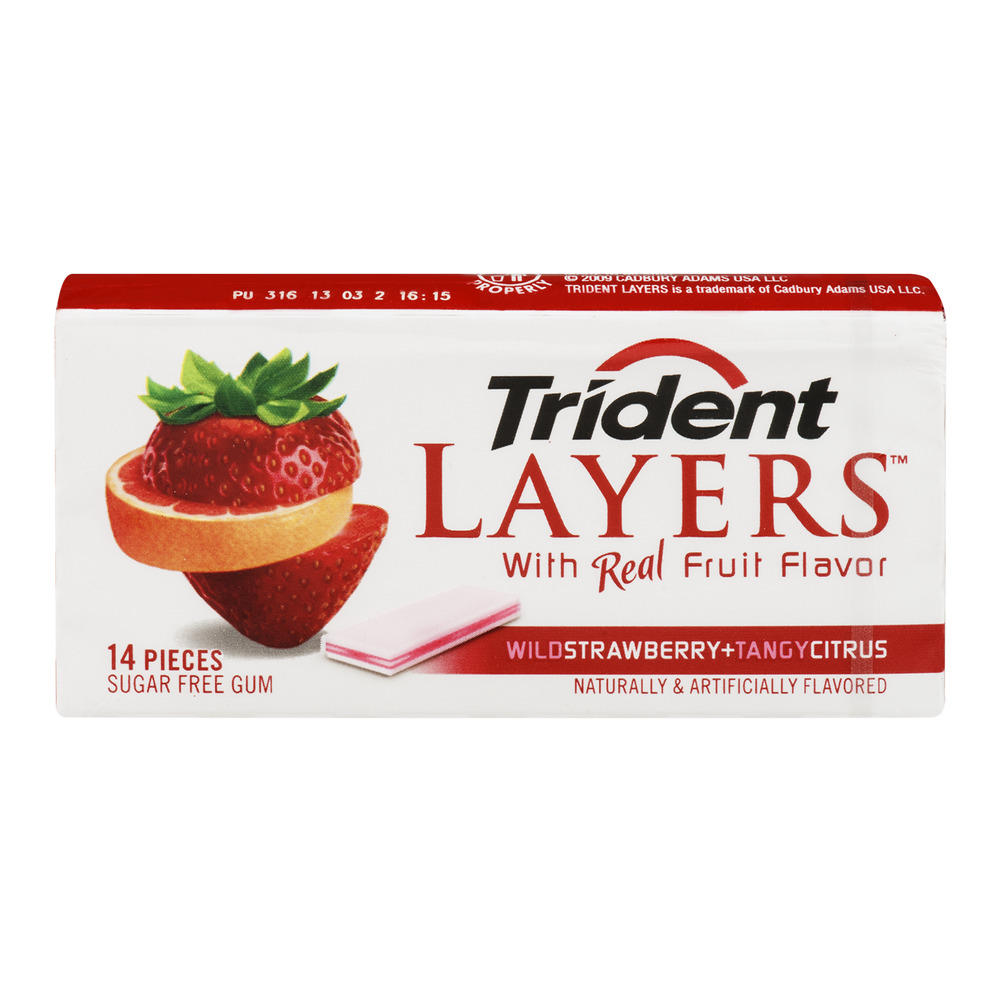 Trident Layers Wild Strawberry Tangy Citrus Sugar Free Gum, 14ct by Mondelez