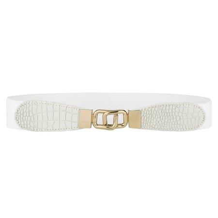 Glazed Alligator Belt (Ladies Interlocking Buckle Alligator Pattern Elastic Cinch Waist Belt )