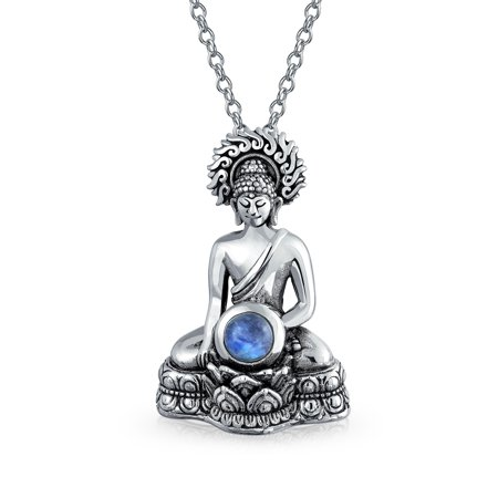 Bling Jewelry Silver Sitting Buddha Rainbow Simulated Moonstone Pendant Silver Buddha Pendant Necklace