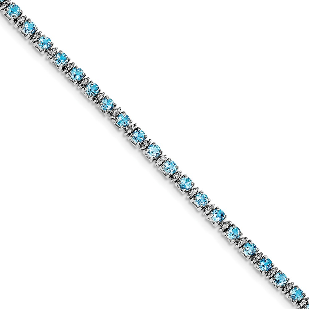 925 SterlingSilver Rhodium-plated Blue Topaz and Diamond Bracelet by Diamond2Deal