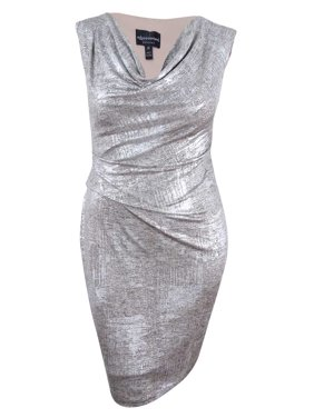e7a39effb63 Product Image Connected Women s Petite Metallic Cowl-Neck Sheath Dress
