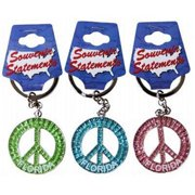 DDI 1266535 Florida Keychain- Glitter Peace Symbol Case of 60