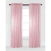 Bacati - Emma Tribal Curtain Panel 42 x 84 inches 100% Cotton Percale Fabrics, Coral/Navy Dot/Cross