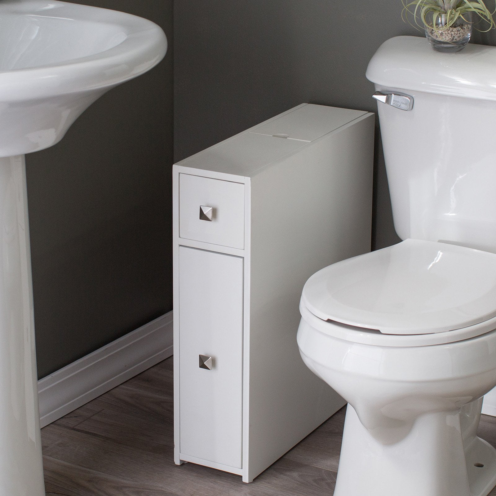 White narrow bathroom cabinet slim storage drawers toilet - Narrow toilets for small bathrooms ...