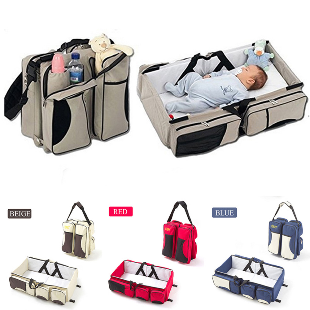 3 in 1 Diaper Bag Travel Bassinet Change Station Cream Multi Purpose Baby Tote