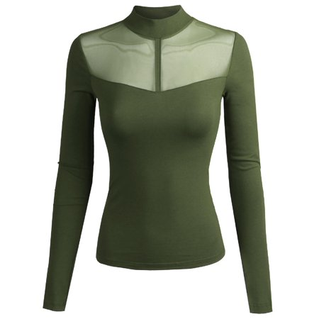 FashionOutfit Women's Fitted Long Sleeve Stretch Mock Neck Mesh Detail Top ()
