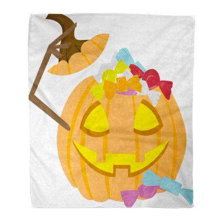 LADDKE Throw Blanket 58x80 Inches Halloween Pumpkin Filled Up Candies As Clipart for The Trick Treat File Warm Flannel Soft Blanket for Couch Sofa - Halloween Throw Up Pumpkin