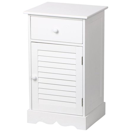 Yaheetech Bedside Table Cabinets Nightstands with Storage Drawer and Cupboard Units Adjustable Height Shelf in White ()