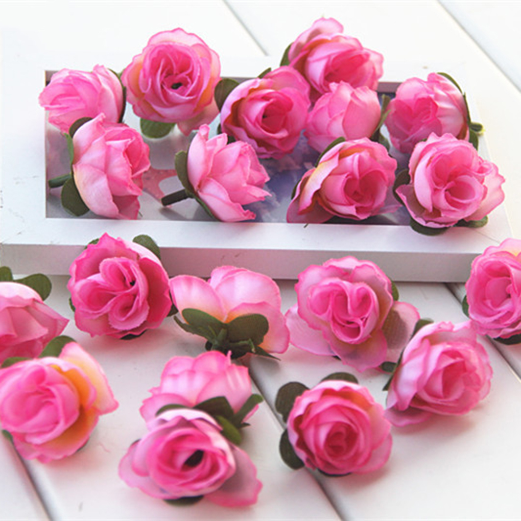 Holiday Clearance 10pcs DIY Artificial Silk Rose Flower Head for Headbands Shoes Decoration