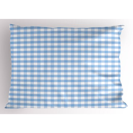 - Checkered Pillow Sham Little Squares and Stripes Pastel Color Gingham Repeating Rows Vintage Tile, Decorative Standard King Size Printed Pillowcase, 36 X 20 Inches, Pale Blue White, by Ambesonne