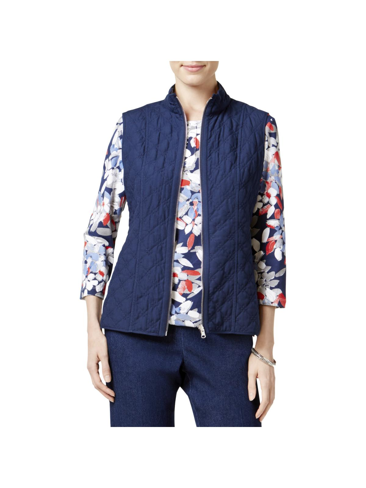 Alfred Dunner Womens Petites Uptown Girl Reversible Quilted Casual Vest Navy 18P