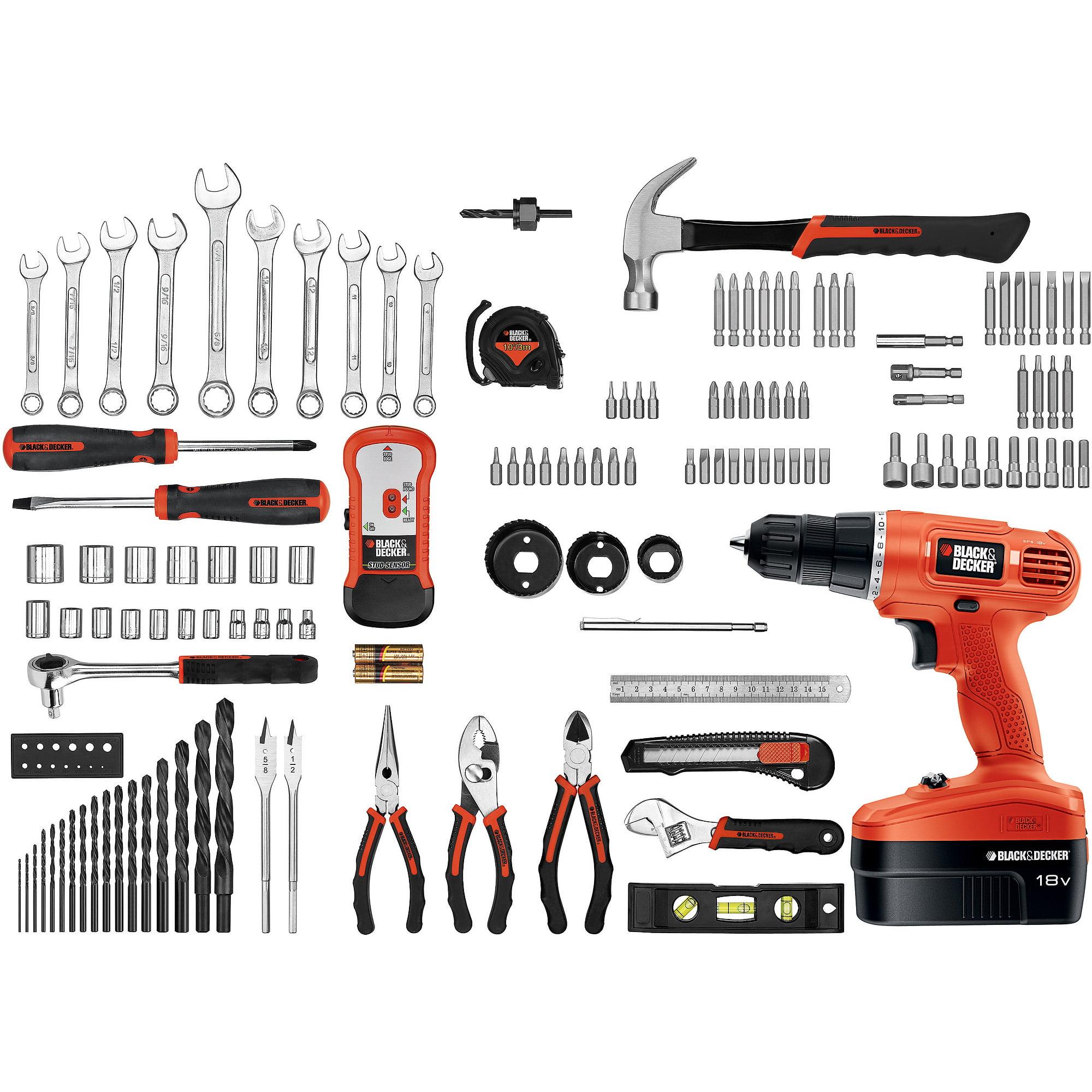 black and decker drill 20v. black \u0026 decker 18-volt nicad drill and 133 pieces home project kit - walmart.com 20v