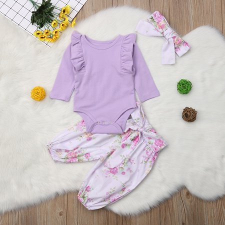 New Baby Girl Romper Flower Tops Jumpsuit Pants Headband Outfit Clothes 0-24 Months (Flower Power Outfits)