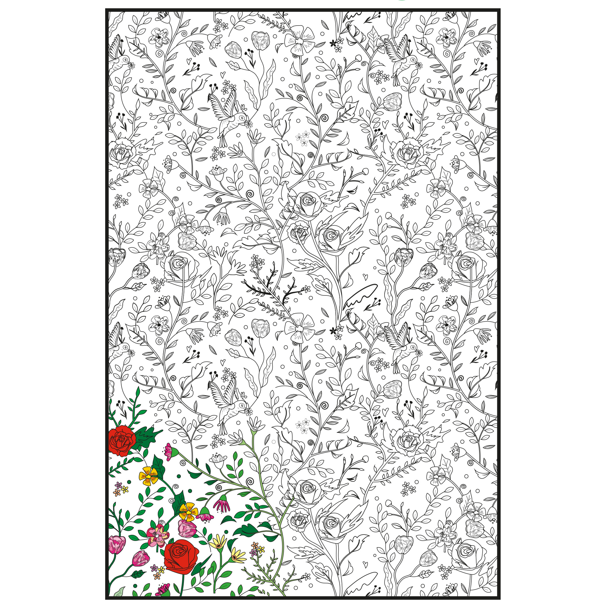"Joy Of Coloring Adult Coloring Poster 24""X36"" 1/Pkg-Enchanted Garden"