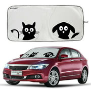 "Car Windshield Sunshade Protector with Pet Design(59""x33""),iClover Cute Cartoon Design Front Auto Car Windshield Sun Shade Folding Silvering Sun Visor - UV Coating for UV Ray Deflector  2 Size"
