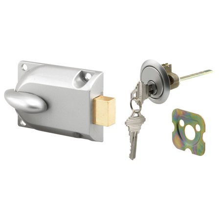 Prime-Line Products GD 52119 Deadbolt Lock, Center Mount with Key Cylinder, Aluminum Painted, Diecast construction; aluminum painted finish By PrimeLine Products