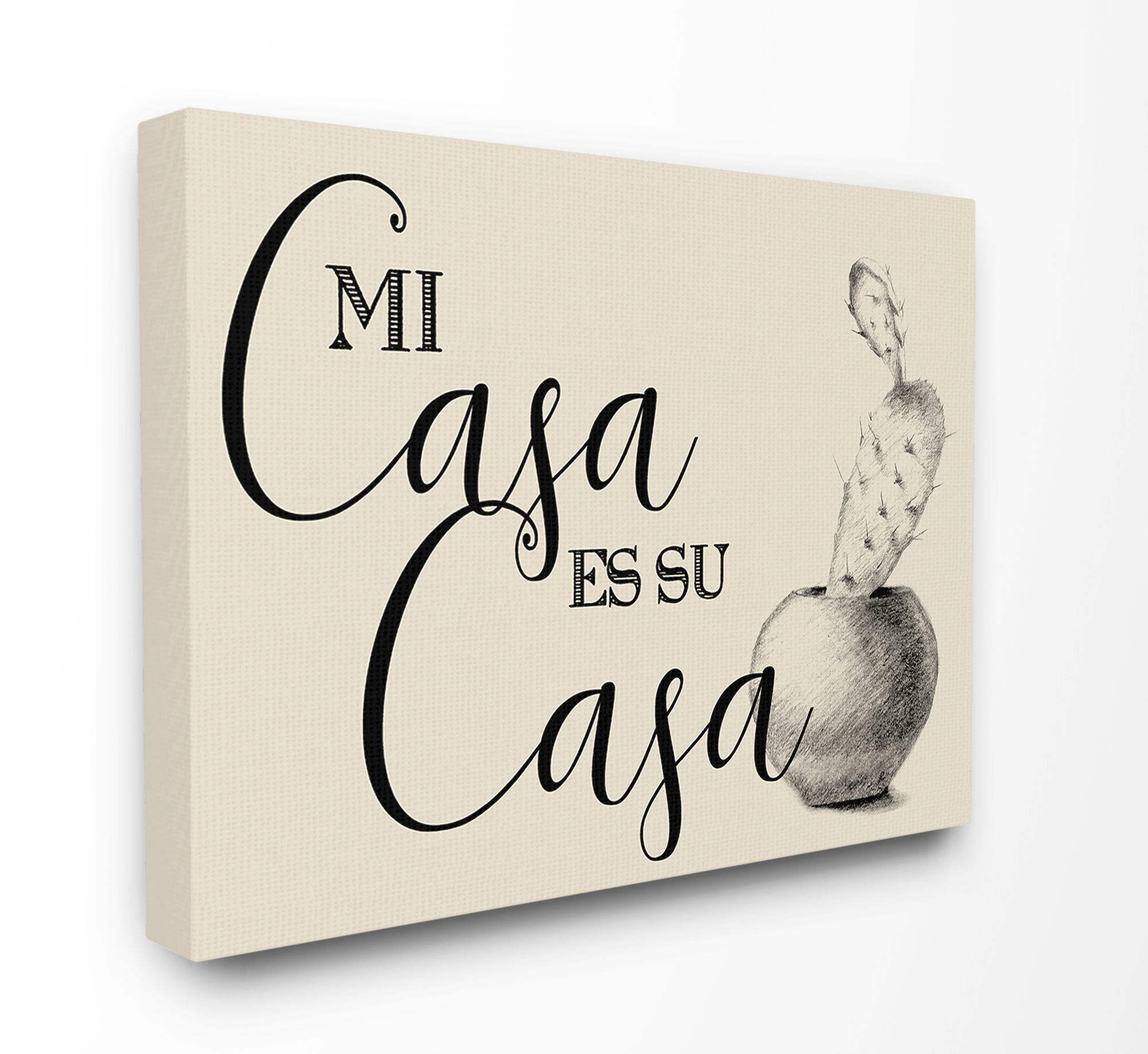 The Stupell Home Decor Collection Mi Casa es Su Casa Tan Spanish Cactus Drawing Stretched Canvas Wall Art, 16 x 1.5 x 20