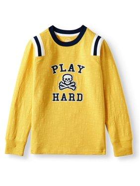 Wonder Nation Long Sleeve Varsity Crew T-Shirt (Little Boys, Big Boys, & Husky)