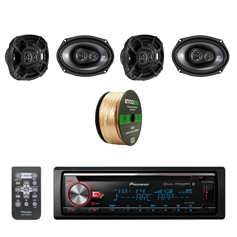 Pioneer CD Bluetooth Receiver with Enhanced Audio Functions with Kicker 6.9 Inch CS Series 3-Way Black Car Coaxial Speakers 2-Pairs and Enrock Audio 14-Gauge 50 Feet Speaker Wire