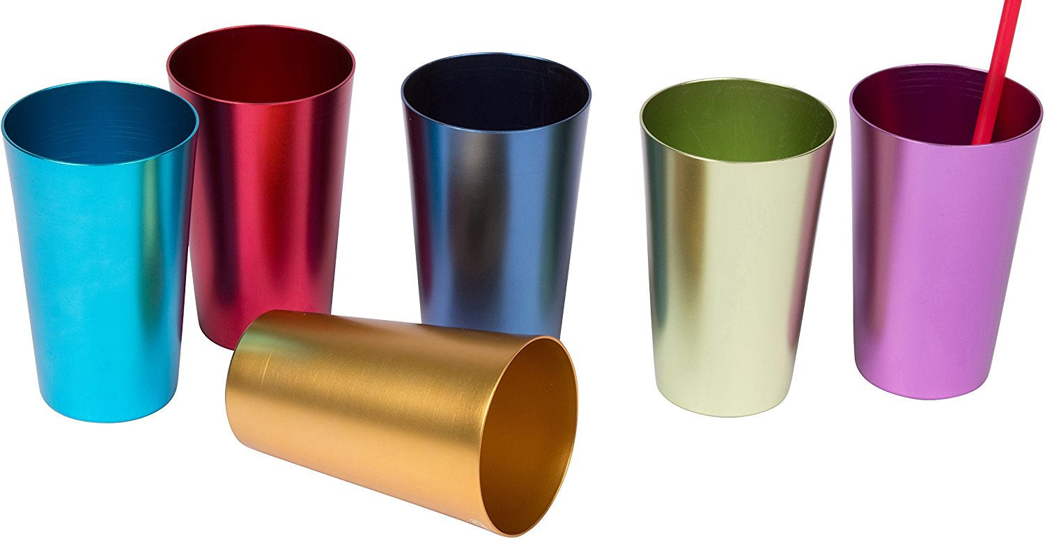 6 Cup Retro Aluminum Tumblers, 14 oz, Multicolor by db Roth