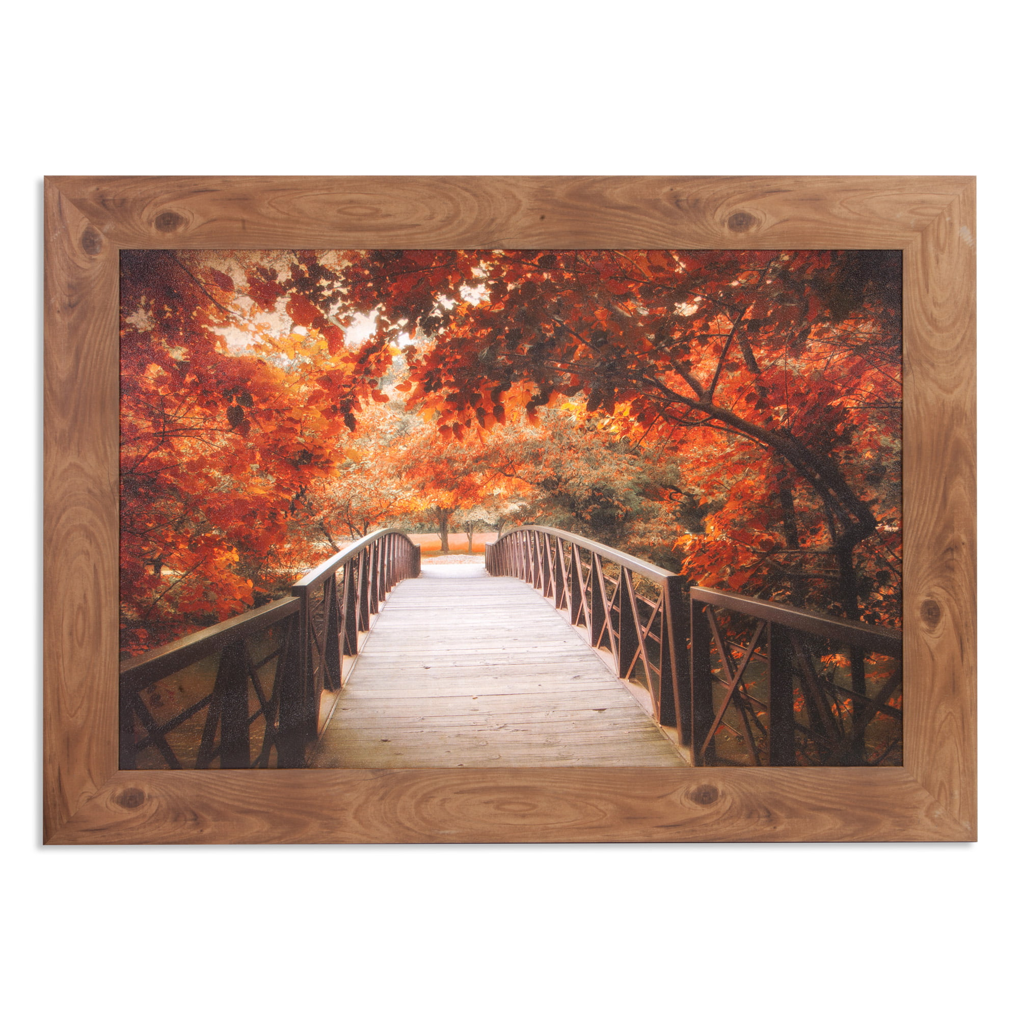 Patton Wall Decor Fall Footbridge Photography Framed Canvas Art by Patton Wall Decor