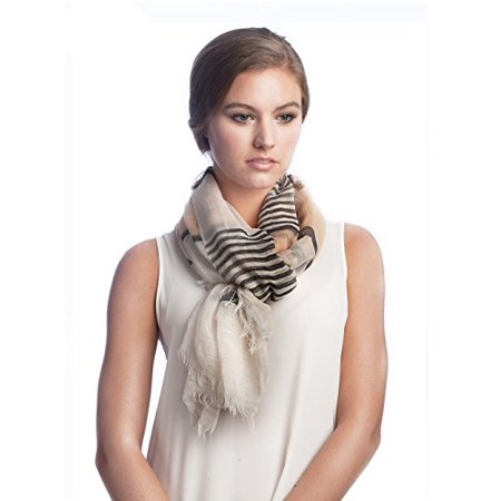 Sassy Scarves Womens Stripe Color Block Pattern Spring Summer Oblong Scarf (Black)