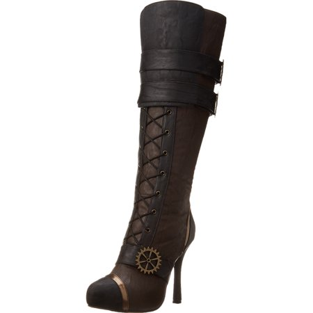 4 Inch High Heel Steampunk Boots Lace Up Knee Boots Gears](Steampunk Knee High Boots)