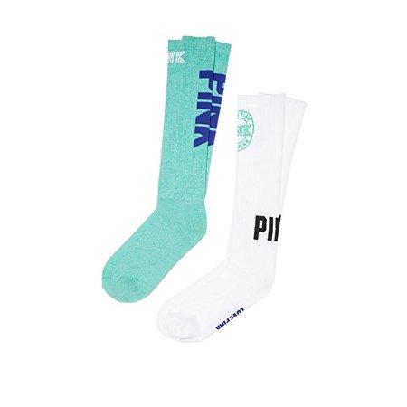 Victoria's Secret Pink Knee High Socks Green Maldive & White Logo 2 Pairs (Victorias Secret Love Pink Socks)