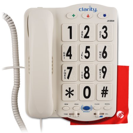 Clarity JV35W Moderate Hearing Loss Amplified Corded Phone With Circuit City Microfiber Cleaning