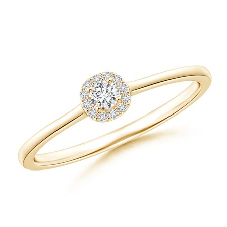 Classic Round Diamond Halo Ring in Prong Setting in 14K Yellow Gold (Weight: (Best Setting For Yellow Diamond)