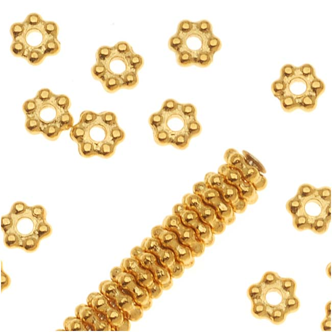Bright 22K Gold Plated Pewter Daisy Spacer Beads 3mm (50)