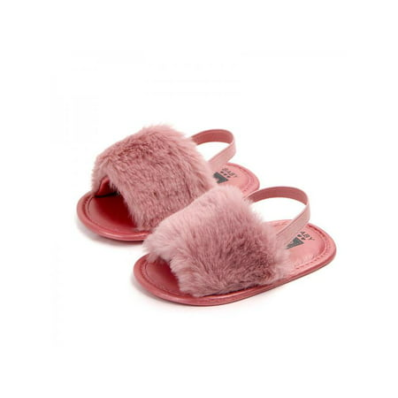BOBORA Toddler Baby Girl Anti-Slip Fluffy Fur Sandals Baby Shoes](Toddler Girl Red Glitter Shoes)