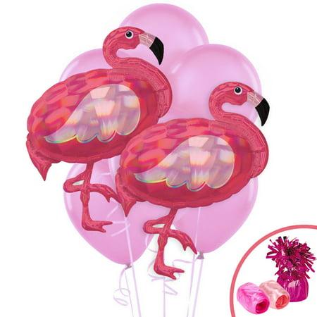Iridescent Pink Flamingo Party Supplies Jumbo Balloon Bouquet - Flamingo Pinata