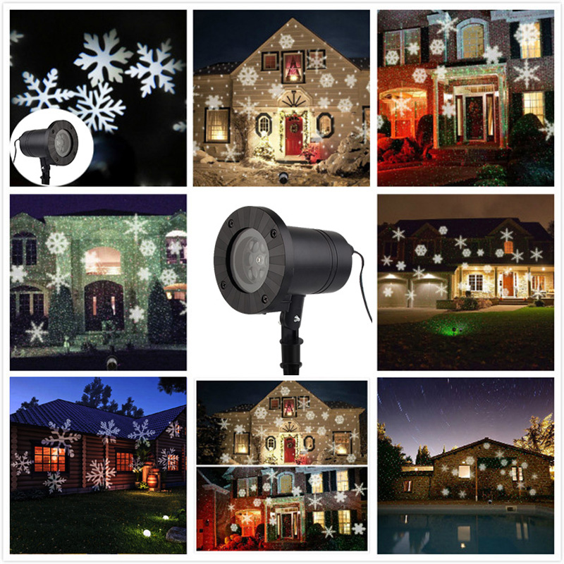 White Snowflake Motion Christmas Landscape Lights Projector Led