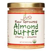 Jiva Organics Organic Raw Sprouted Almond Butter, Creamy, Unsalted, 8 Oz
