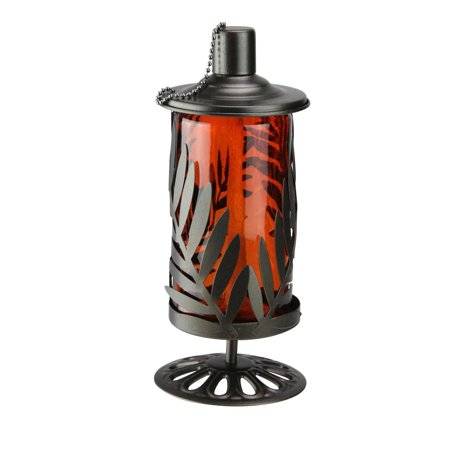 "9.8"" Red and Brown Leaf Cut Design Metal and Glass Oil Lamp with Wick Cover - image 2 of 2"