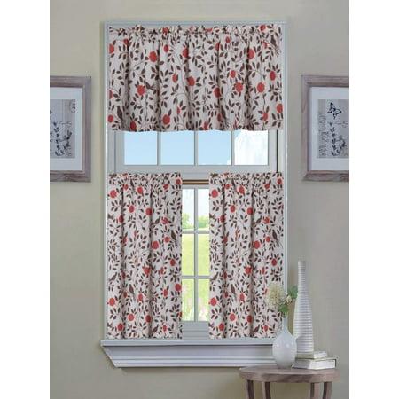 Shabby Cotton Blend Autumn Flowers & Birds 3 Pc. Kitchen Curtain Tier