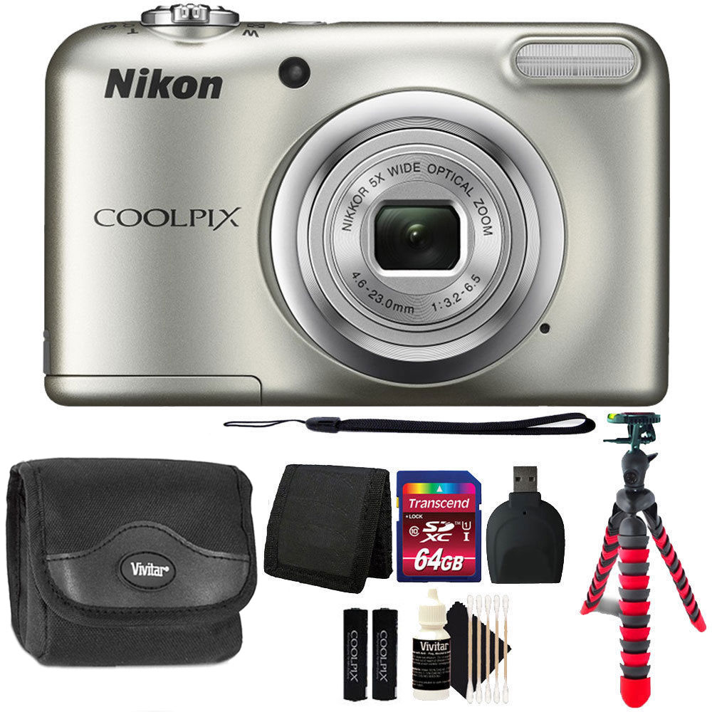 Nikon COOLPIX A10 16.1 MP Compact Digital Camera Silver + 64GB Deluxe Bundle