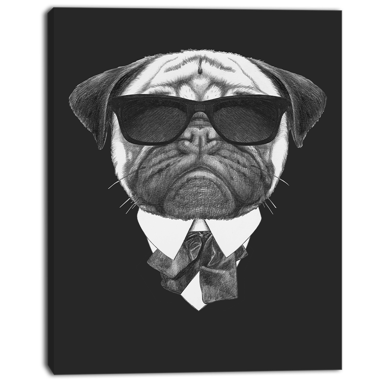 Pug Dog Portrait in Suit - Animal Canvas Art Print - image 1 of 3